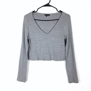 Topshop gray long sleeve cropped top
